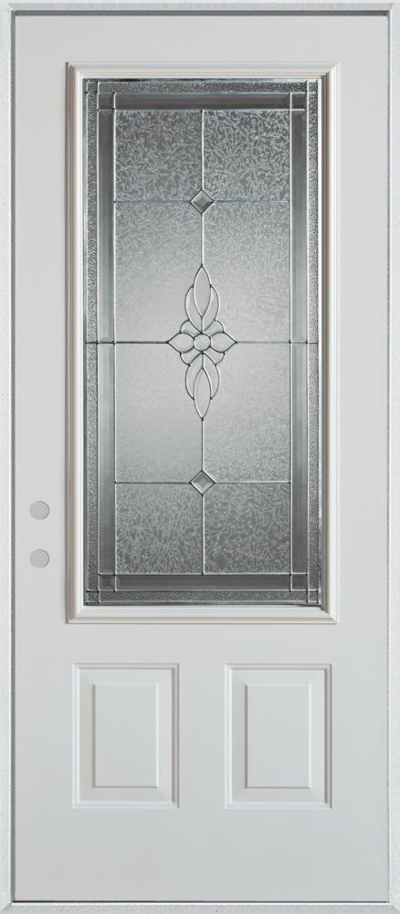 Porte dentrée en acier peint, munie de deux panneaux et dun 3/4 verre