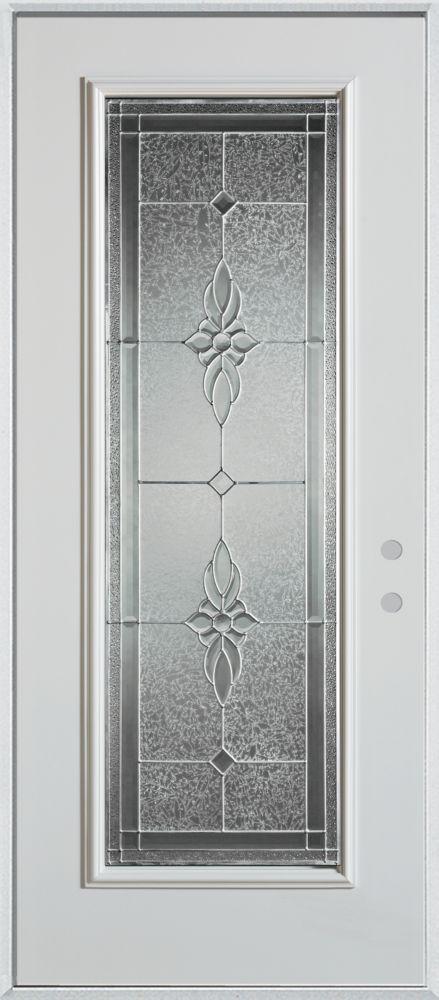 Porte dentrée en acier peint, munie d'un panneau de verre