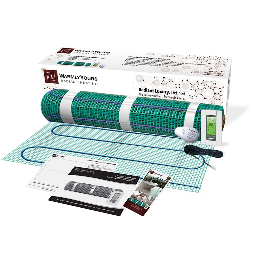 Kit de chauffage de sol TempZone� 120V 3' x 15' , 15 pied carres avec thermostat programmable