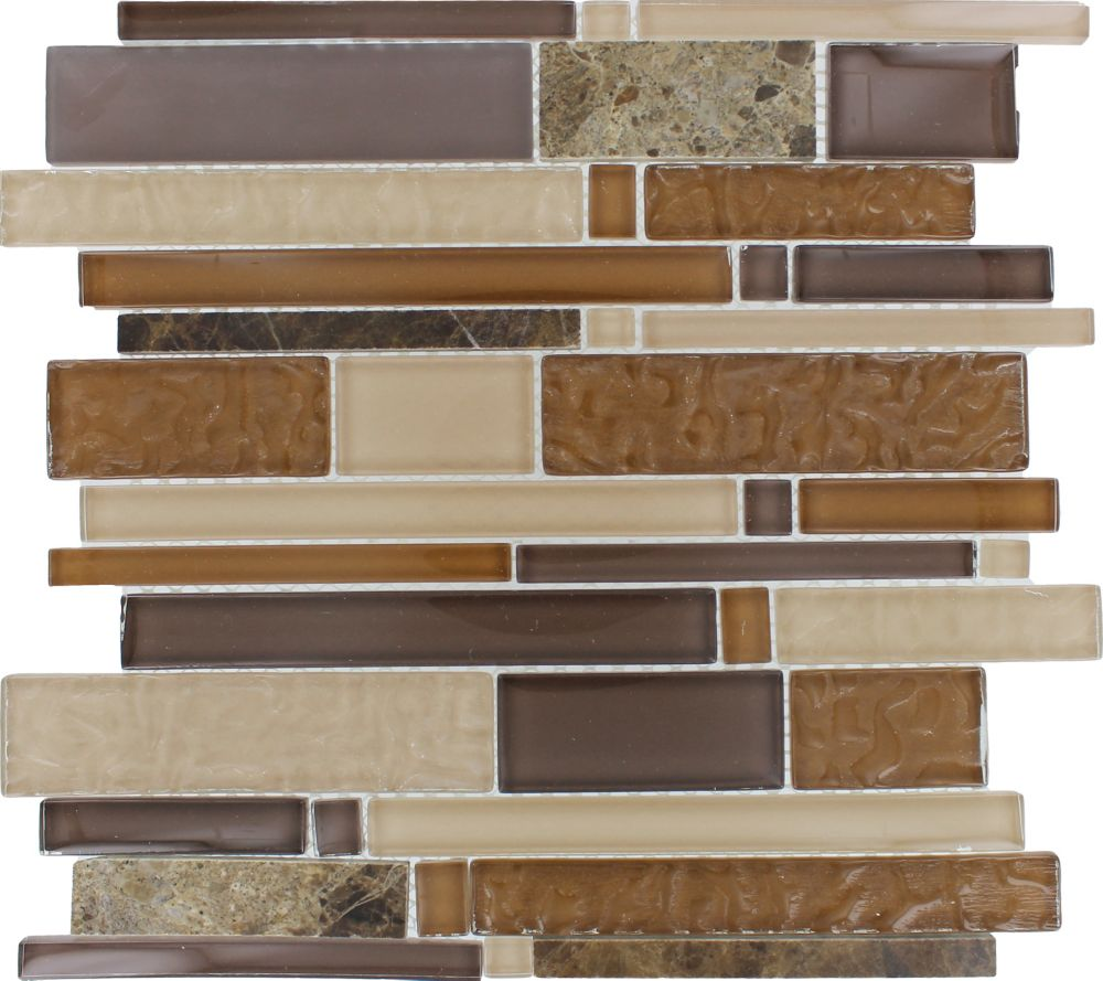 Interlocking 8mm Glass Stone Mesh-Mounted Mosaic Blend Wall Tile in Sonoma (10 sq. ft./case)