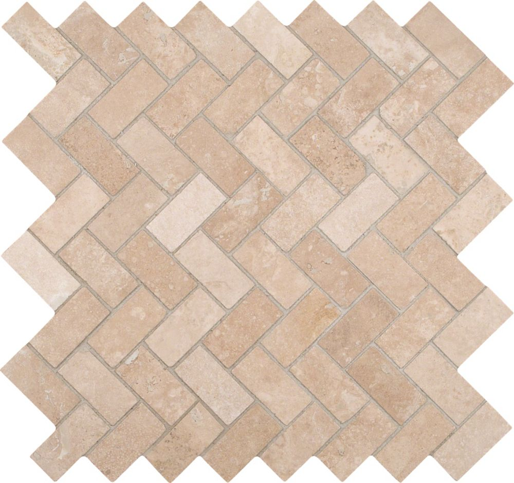 12-Inch x 12-Inch x 10 mm Honed Travertine Mesh-Mounted Mosaic Tile in Herringbone