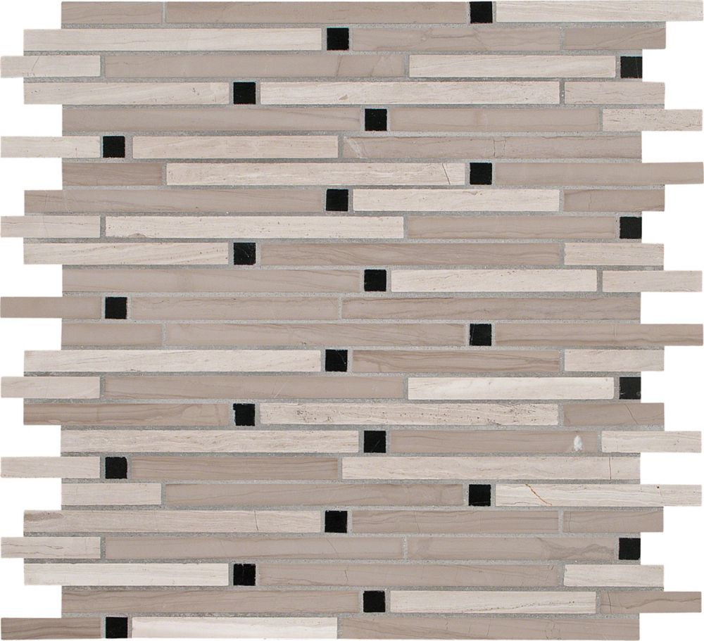 12-Inch x 12-Inch x 10 mm Honed Marble Mesh-Mounted Interlocking Mosaic Tile in White Oak