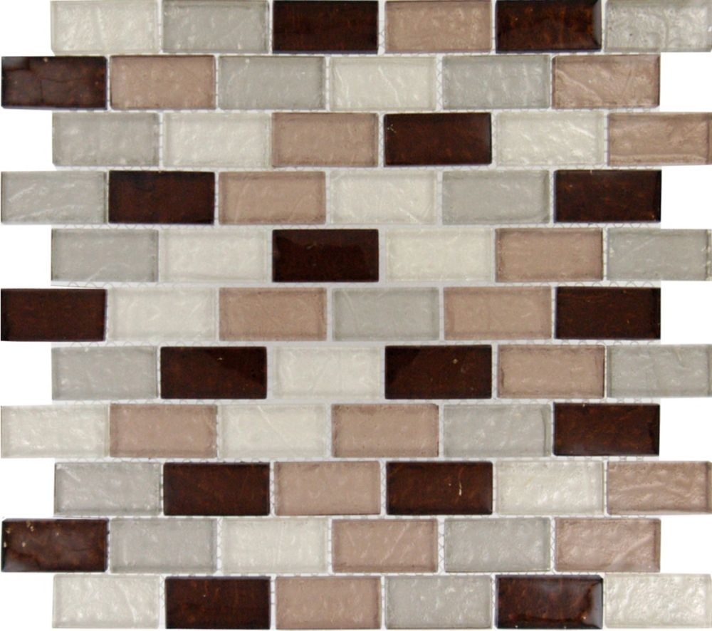12-inch x 12-inch x 8 mm Glass Mesh-Mounted Mosaic Blend Tile in Ayres