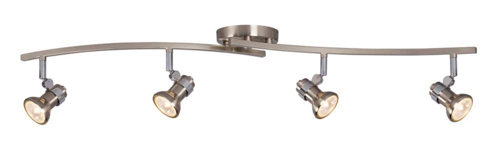 Rail déclairage en nickel brossé à 4 lumières