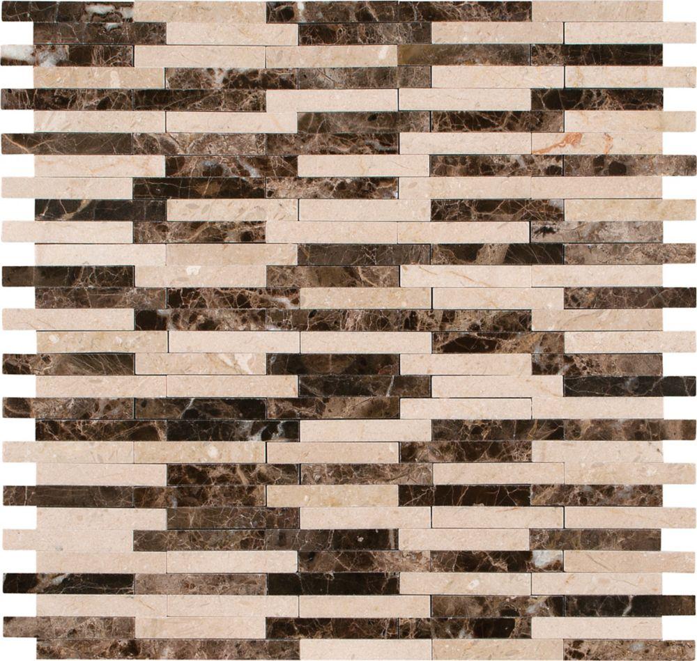 Carreaux de mosaïque de marbre montés sur filet avec motif de bambou Alicante pour planchers et m...