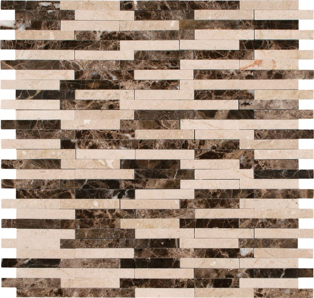 Marble Mesh-Mounted Mosaic Floor and Wall Tile in Alicante Bamboo Pattern