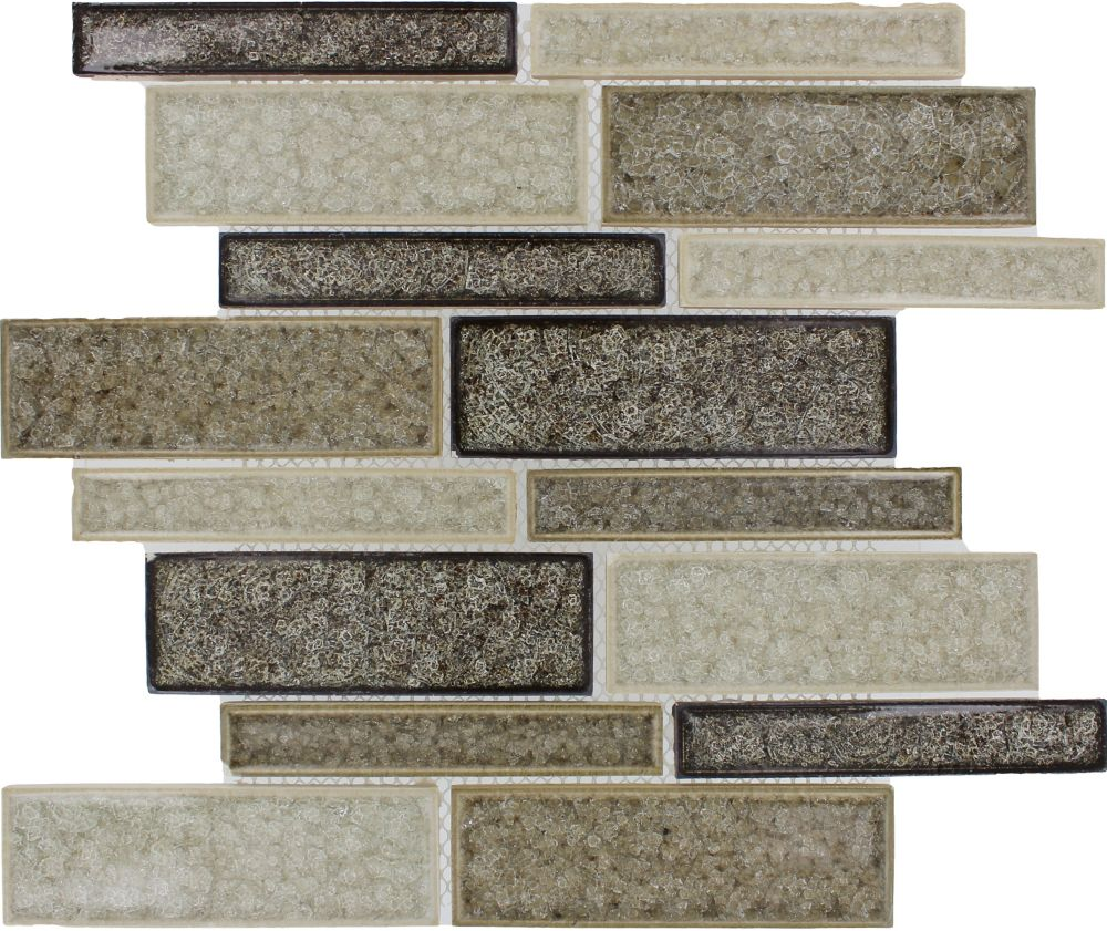 Interlocking 12-inch x 12-inch x 8 mm Glass Mesh-Mounted Mosaic Tile in Fossil Canyon