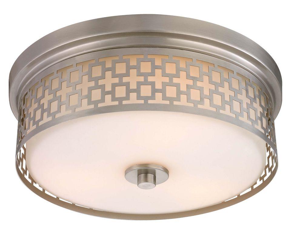 Hampton Bay Jerada 15-inch 3-Light 60W Brushed Nickel Flushmount Ceiling Light with Laser Cut Drum