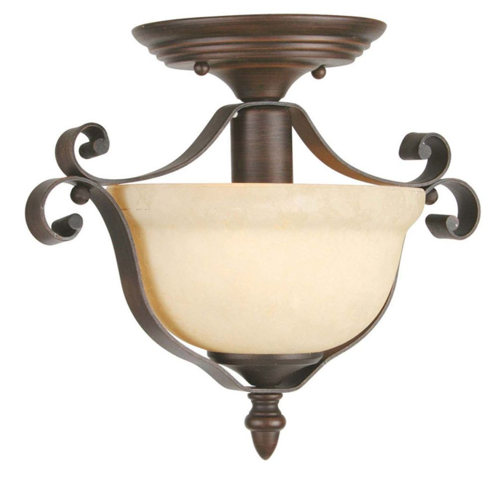 Providence 1-Light Bronze Semi Flush Mount with Vintage Scavo Glass