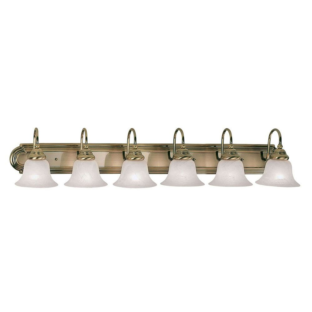 Providence 6 Light Antique Brass Incandescent Bath Vanity with White Alabaster Glass