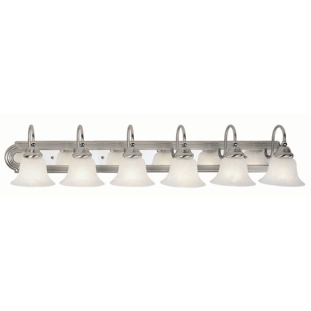 Providence 6 Light Brushed Nickel and Chrome Incandescent Bath Vanity with White Alabaster Glass