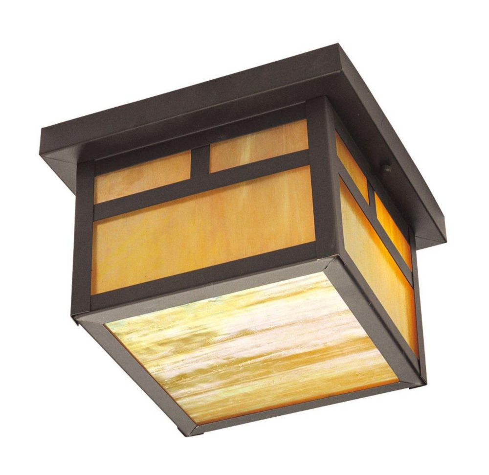 Providence 2-Light Solid Brass Outdoor Ceiling-Light with Iridescent Tiffany Glass