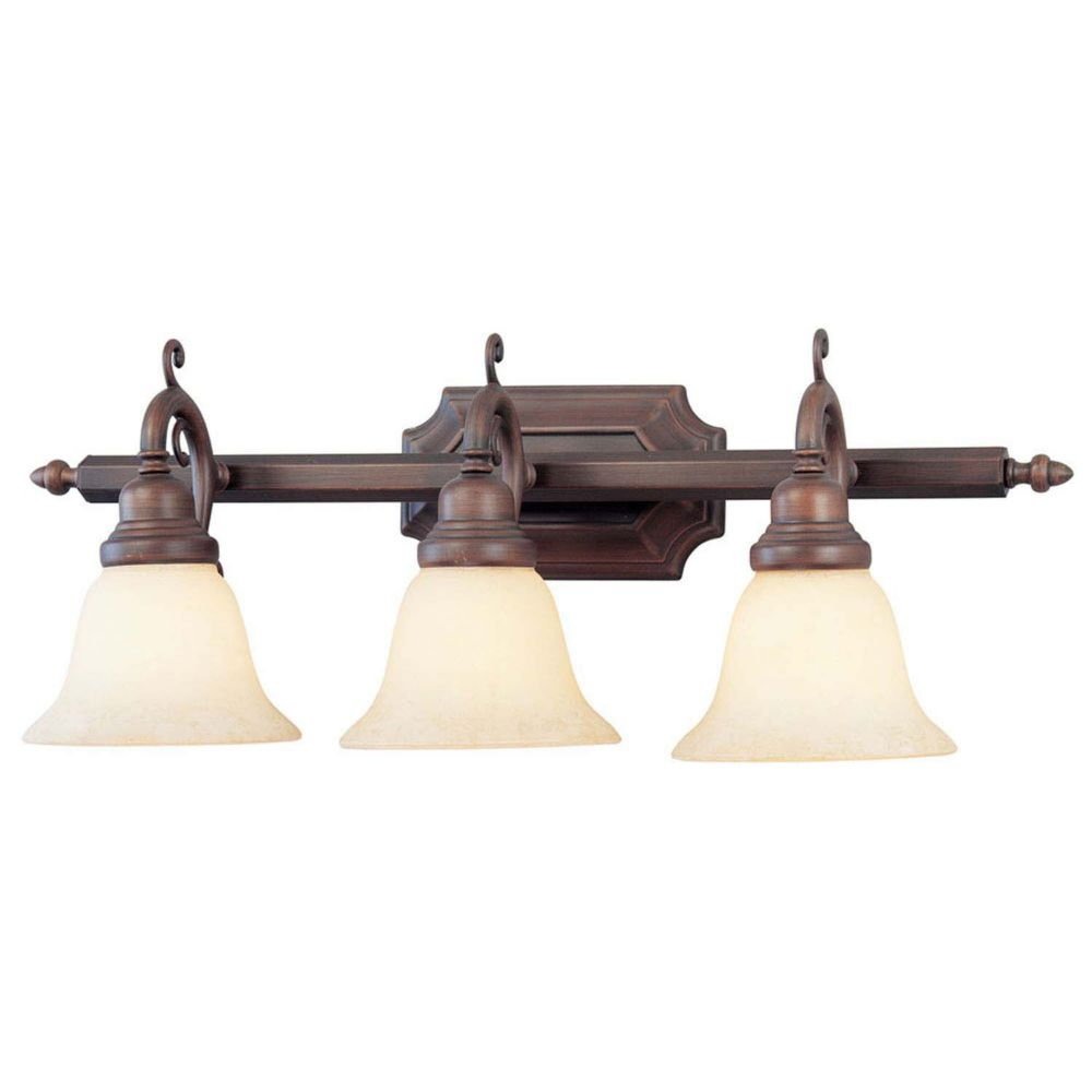 Providence 3 Light Imperial Bronze Incandescent Bath Vanity with Vintage Scavo Glass