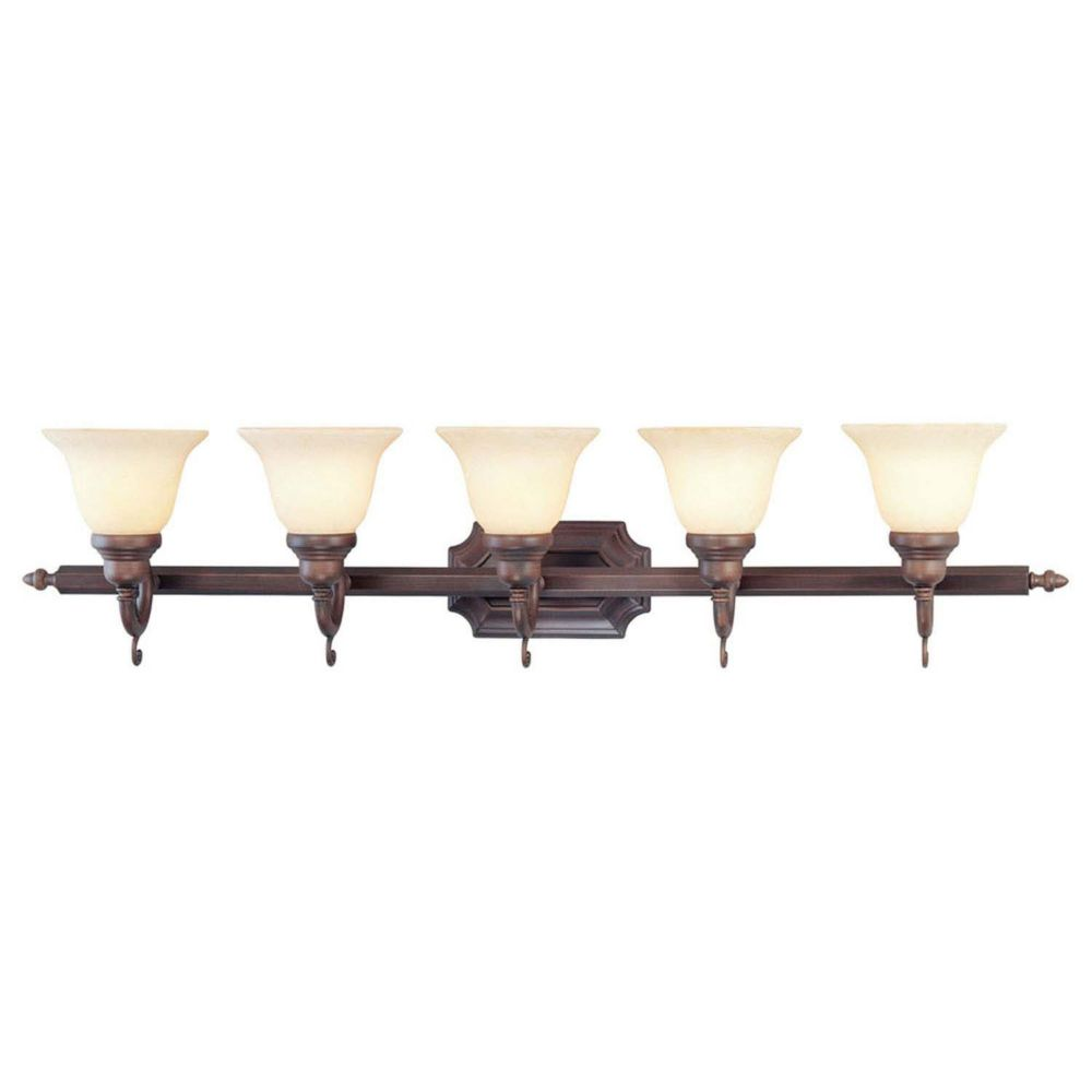 Providence 5 Light Imperial Bronze Incandescent Bath Vanity with Vintage Scavo Glass CLI-LTG1195-58 Canada Discount
