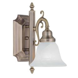 Illumine Providence 1 Light Antique Brass Incandescent Bath Vanity with White Alabaster Glass