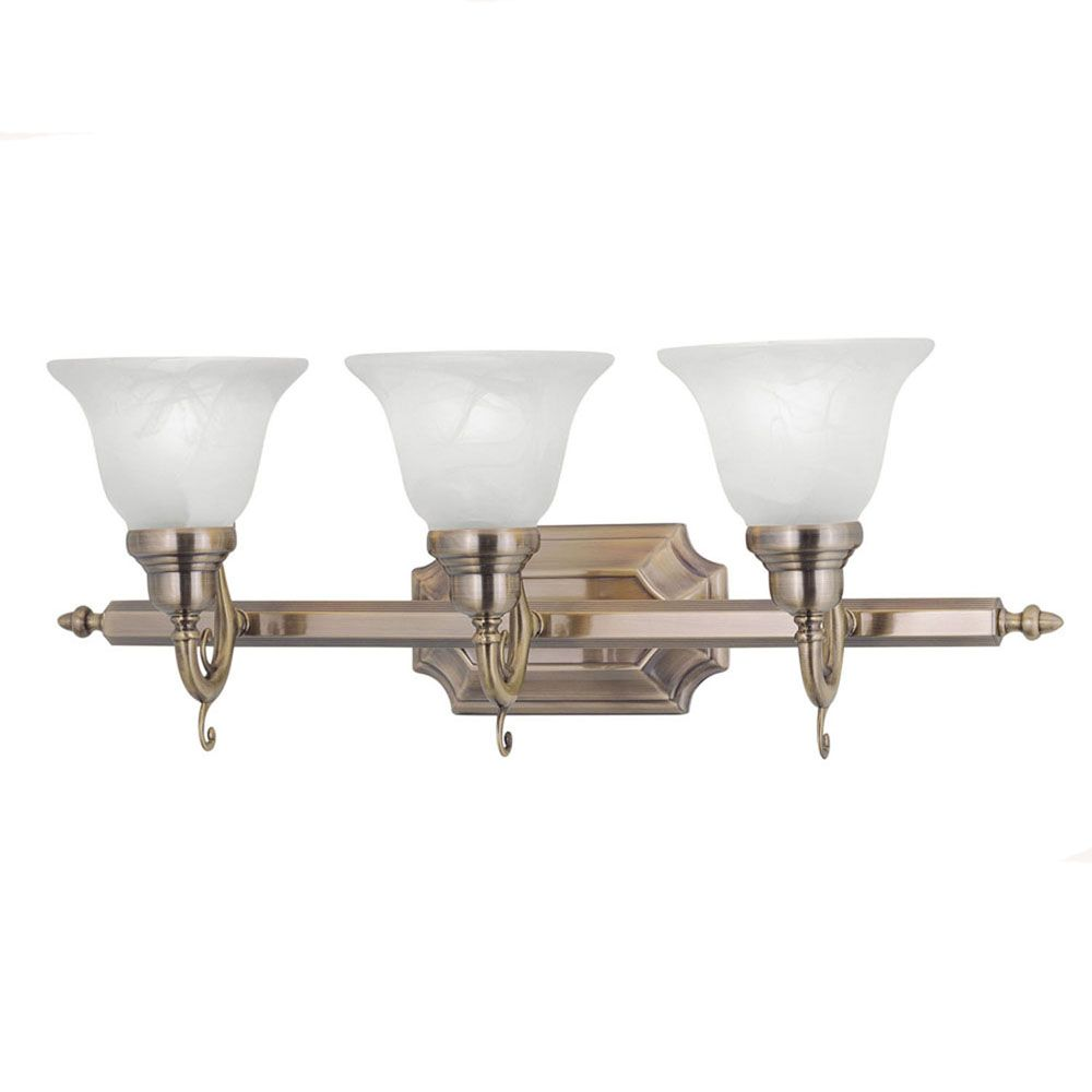 Providence 3 Light Antique Brass Incandescent Bath Vanity with White Alabaster Glass CLI-LTG1283-01 Canada Discount