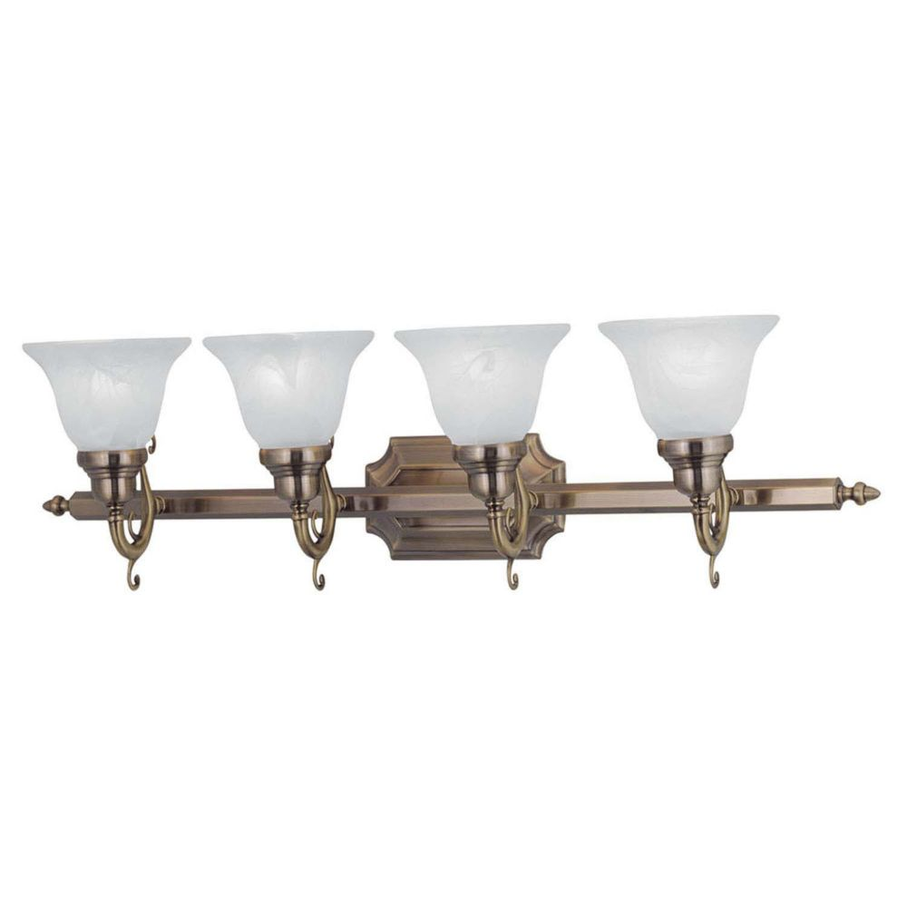 Providence 4-Light Antique Brass Bath Vanity with White Alabaster Glass