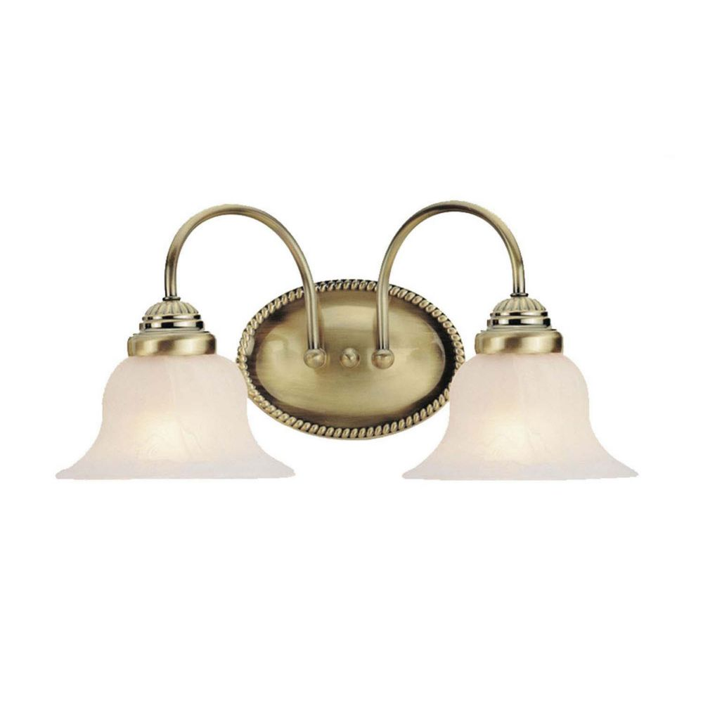 Providence 2-Light Antique Brass Bath Vanity with White Alabaster Glass