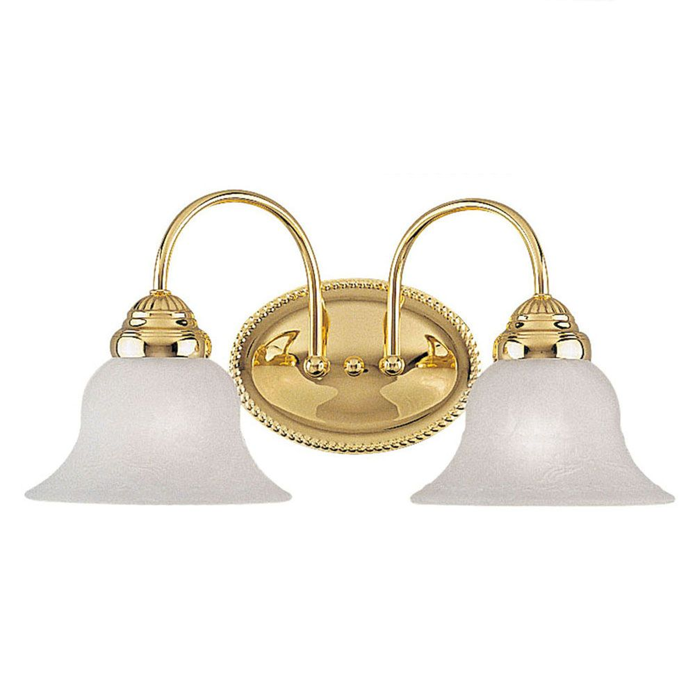 Providence 2-Light Bright Brass Bath Vanity with White Alabaster Glass