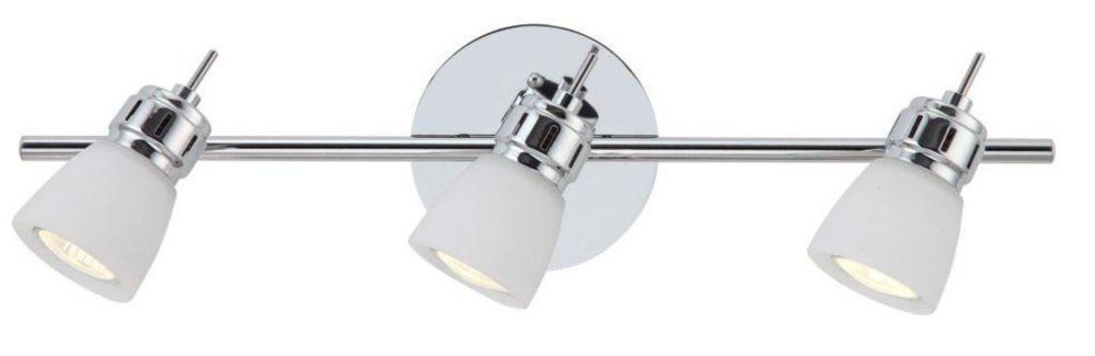 Rail d'éclairage Laurier à 3 lumières chrome