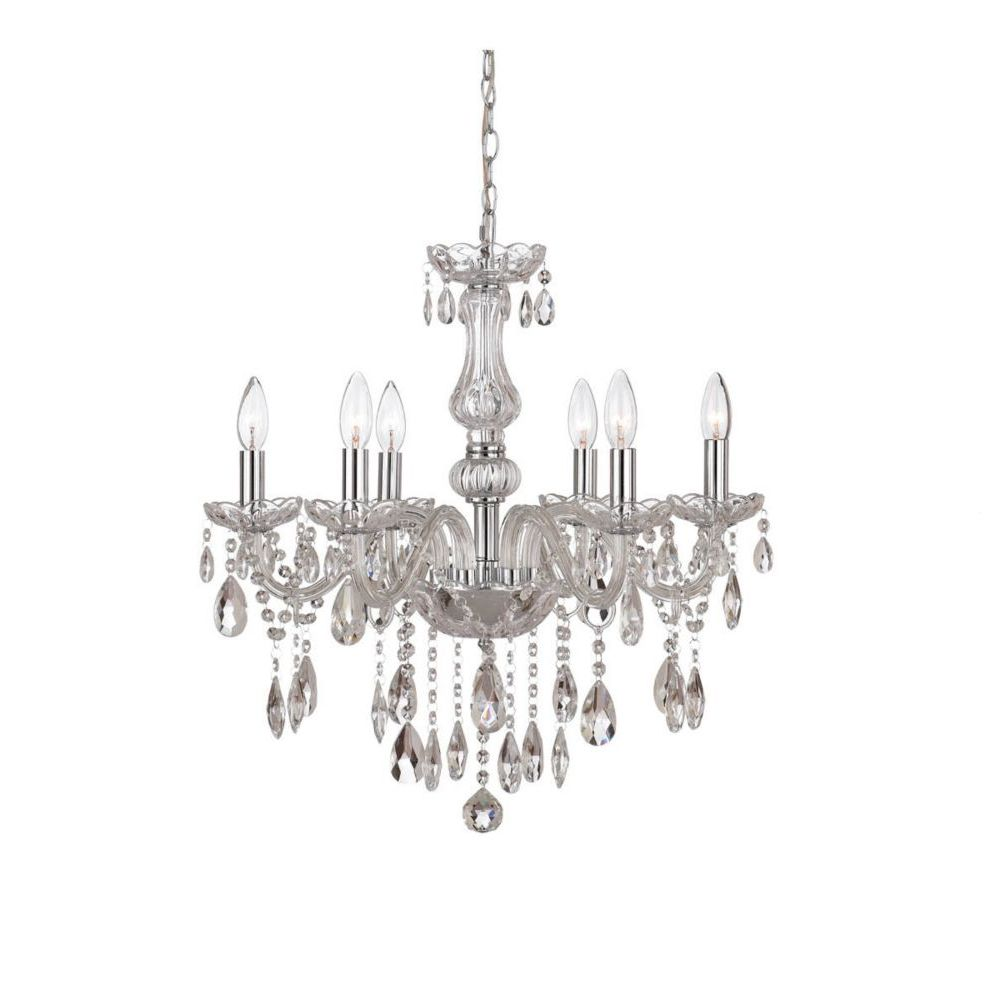 Home Decorators Collection Deamber Collection 6 Light Chrome Chandelier The Home Depot Canada