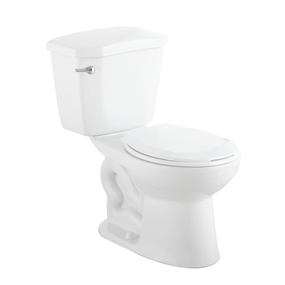 GLACIER BAY HET Premier 2-Piece 1.28 GPF Single Flush Round Bowl Toilet in White