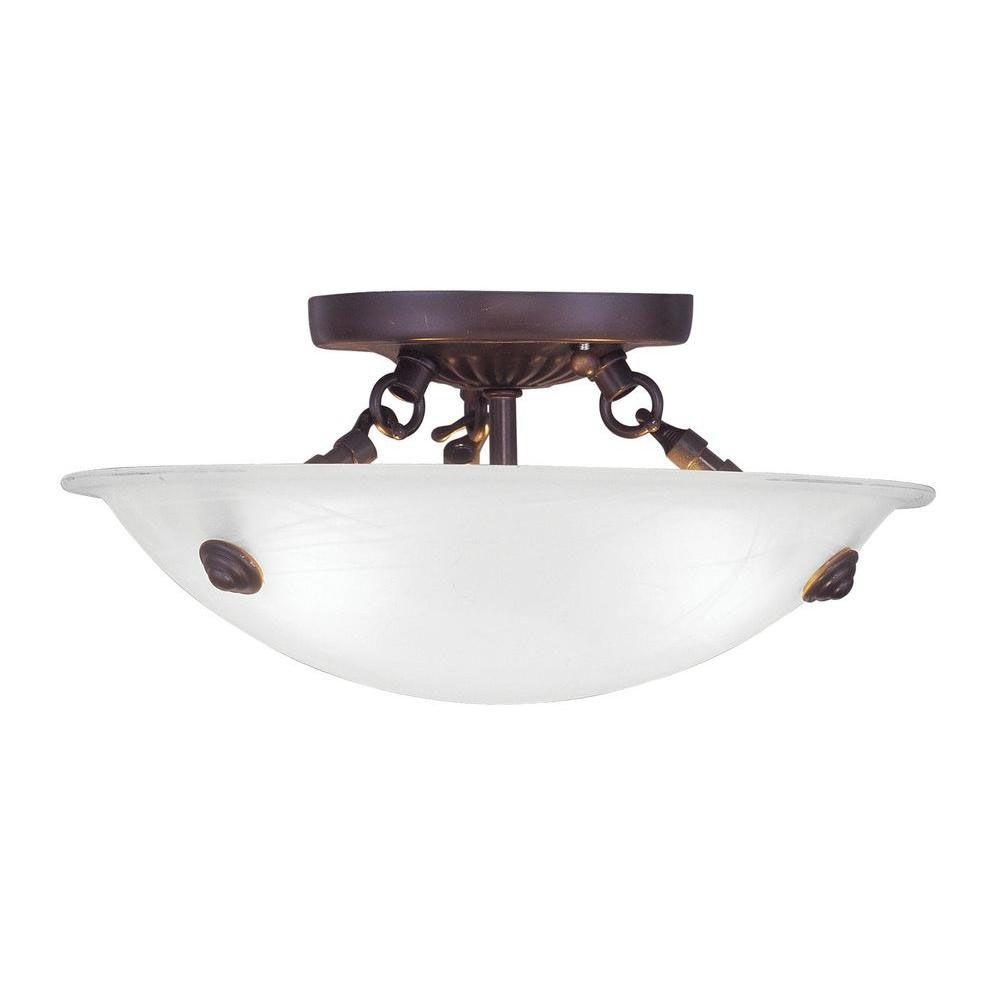 Providence 3-Light Bronze Semi Flush Mount with White Alabaster Glass