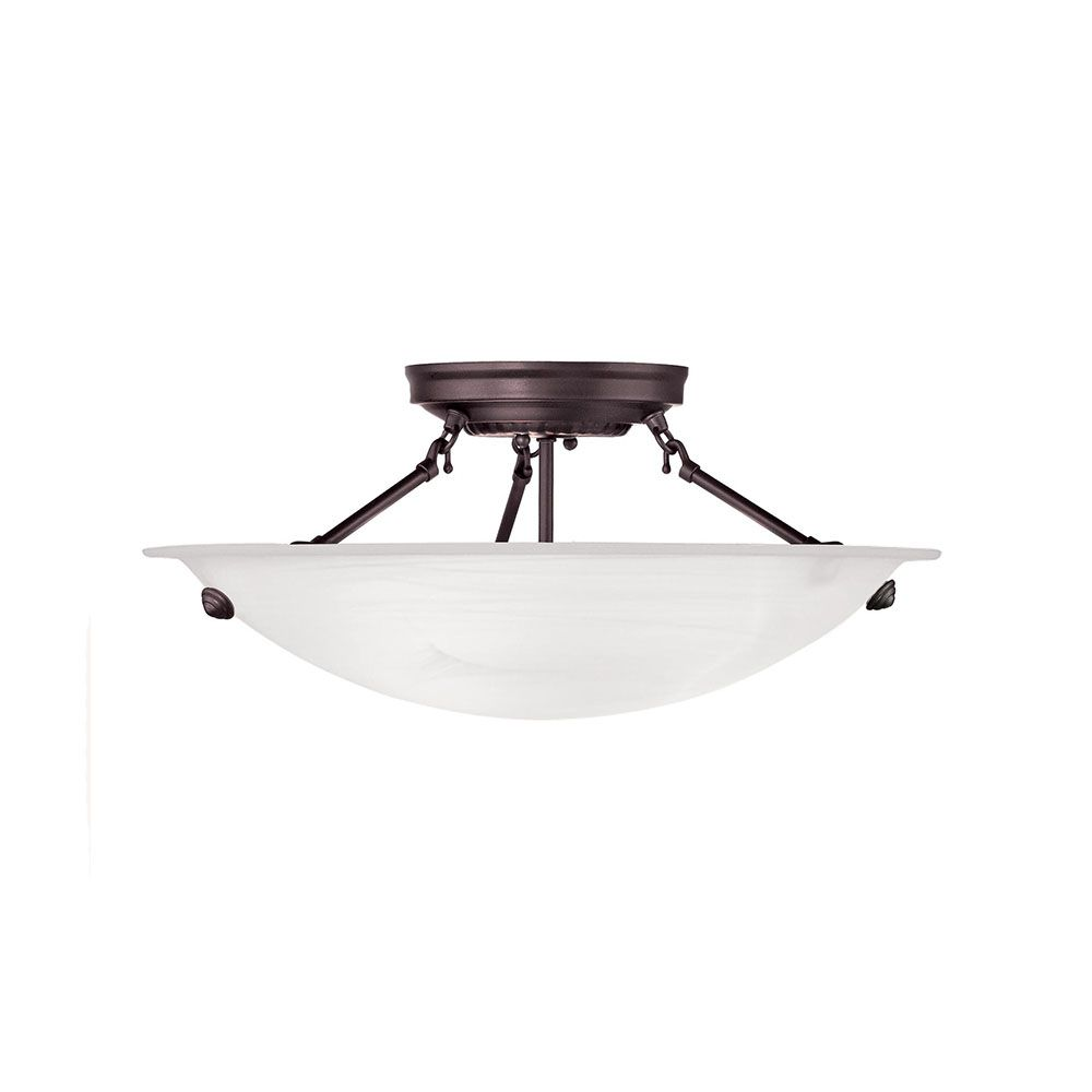 Providence 3 Light Bronze Incandescent Semi Flush Mount with White Alabaster Glass