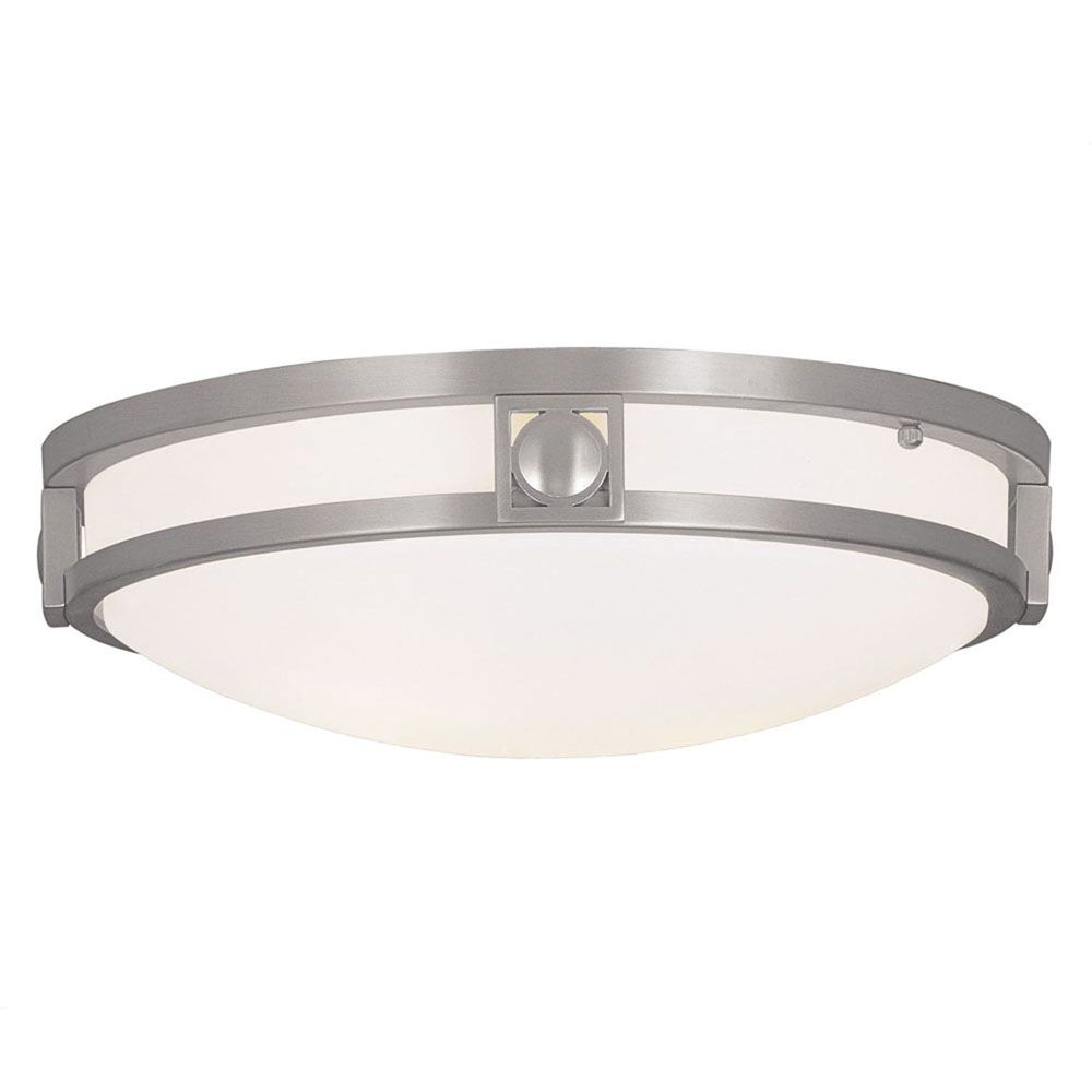 Providence 2 Light Brushed Nickel Incandescent Semi Flush Mount with Satin White Glass