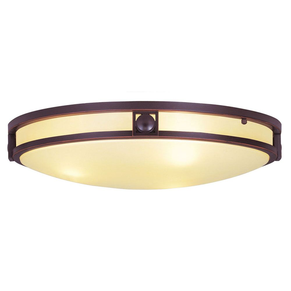 Providence 3-Light Bronze Semi Flush Mount with Iced Champagne Glass