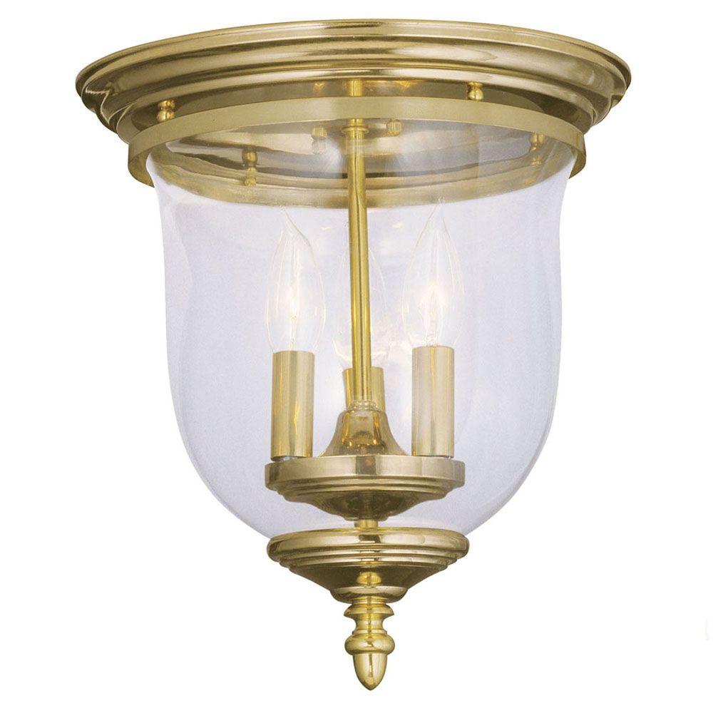 Providence 3 Light Bright Brass Incandescent Semi Flush Mountwith Clear Glass CLI-LTG5021-02 Canada Discount