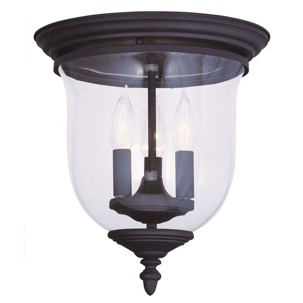 Providence 3-Light Black Semi Flush Mount with Clear Glass