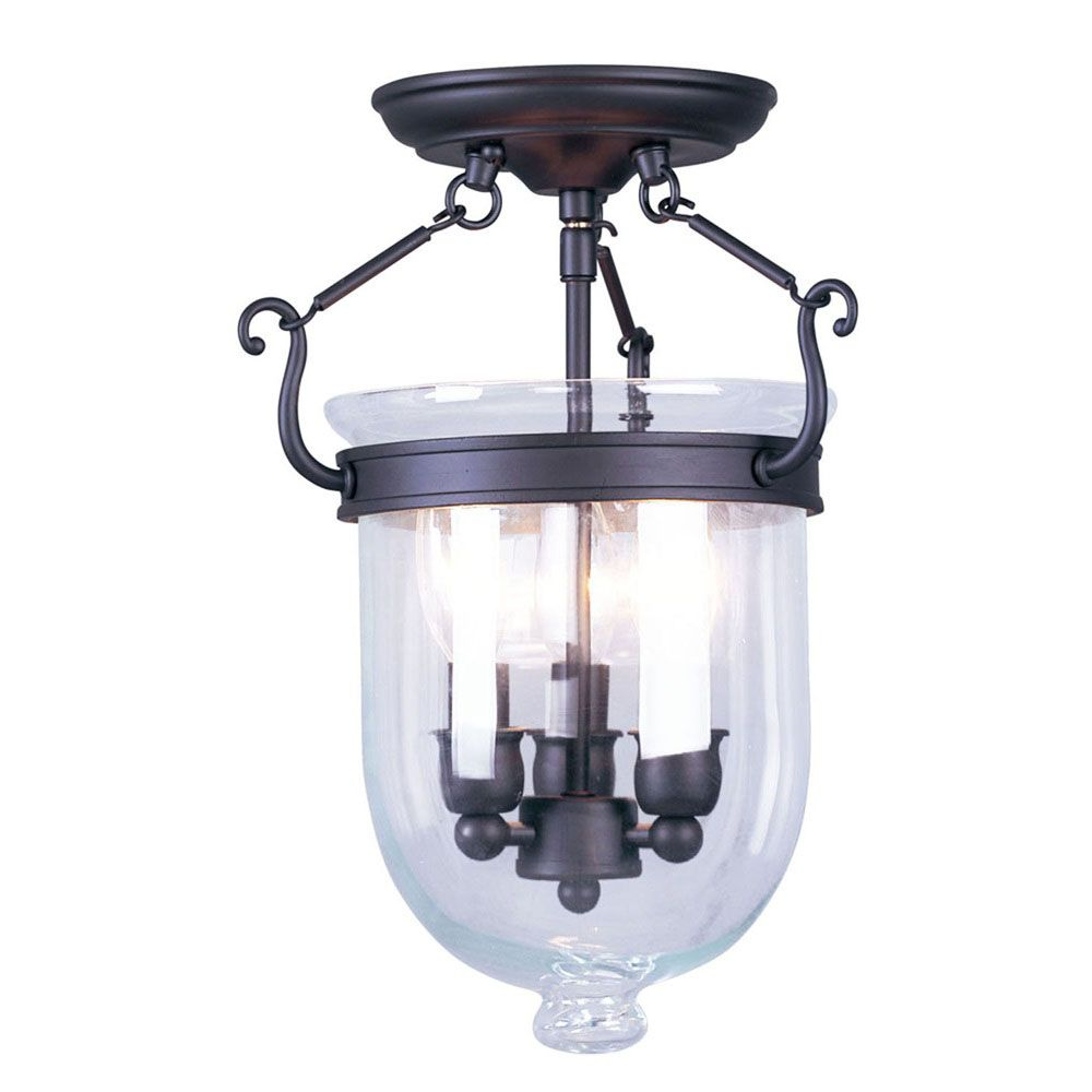 Providence 3-Light Bronze Semi Flush Mount with Clear Glass
