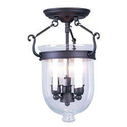 Illumine Providence 3-Light Bronze Semi Flush Mount with Clear Glass