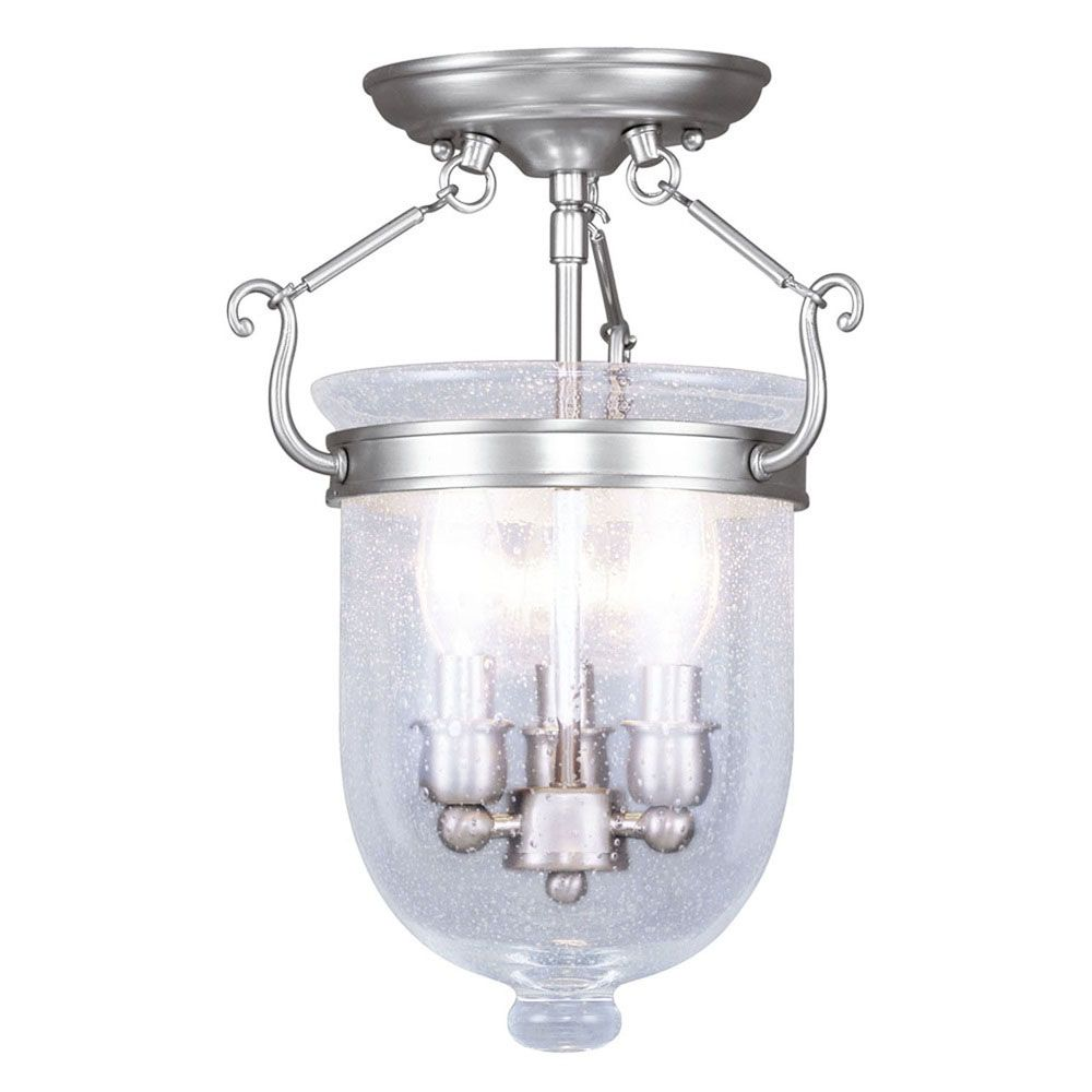 Providence 3 Light Brushed Nickel Incandescent Semi Flush Mount with Seeded Glass CLI-LTG5081-91 Canada Discount