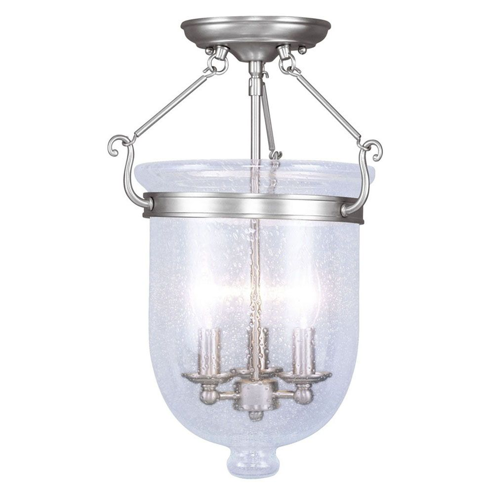 Providence 3 Light Brushed Nickel Incandescent Semi Flush Mount with Seeded Glass