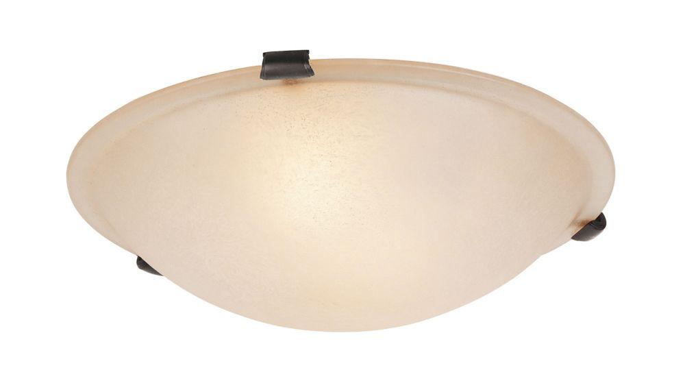 Providence 2 Light Bronze Incandescent Semi Flush Mountwith Honey Alabaster Glass