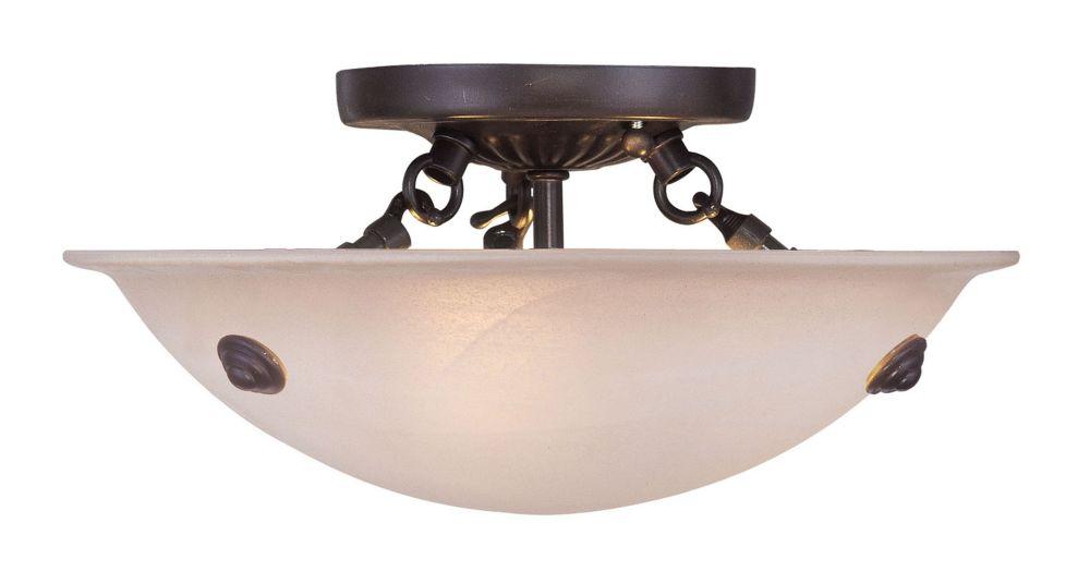 Providence 3 Light Bronze Incandescent Semi Flush Mount with Honey Alabaster Glass