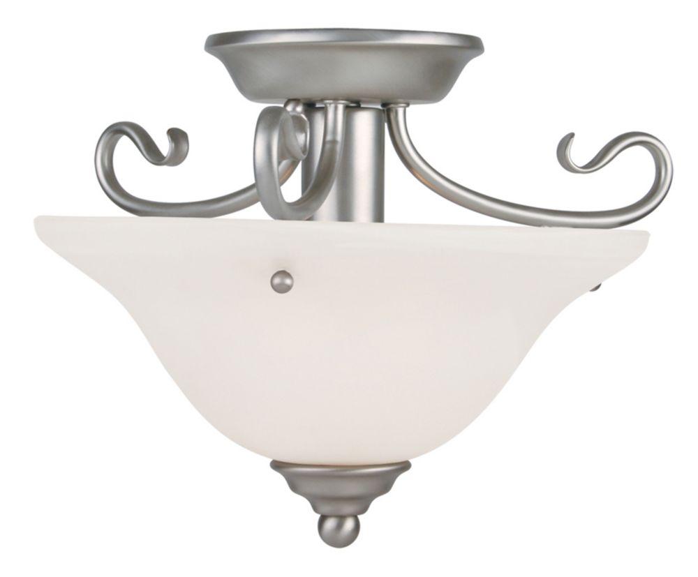 Providence 1-Light Brushed Nickel Semi Flush Mount with White Alabaster Glass
