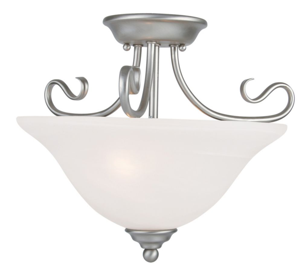 Providence 2-Light Brushed Nickel Semi Flush Mount with White Alabaster Glass