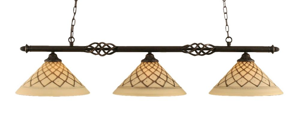 Filament Design 3-Light Ceiling Dark Granite Billiard Bar with a Chocolate Icing Glass