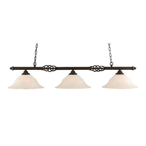 Concord 3 lumières plafond granite foncé incandescence Bar Billard avec un verre de marbre blanc