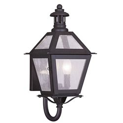 Illumine Providence 2 Light Bronze Incandescent Wall Lantern with Seeded Glass