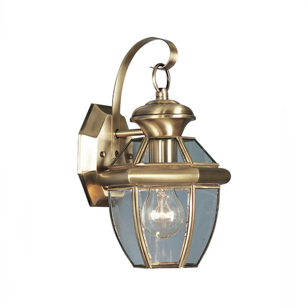 Providence 1 Light Antique Brass Incandescent Wall Lantern with Clear Beveled Glass CLI-LTG2051-01 in Canada