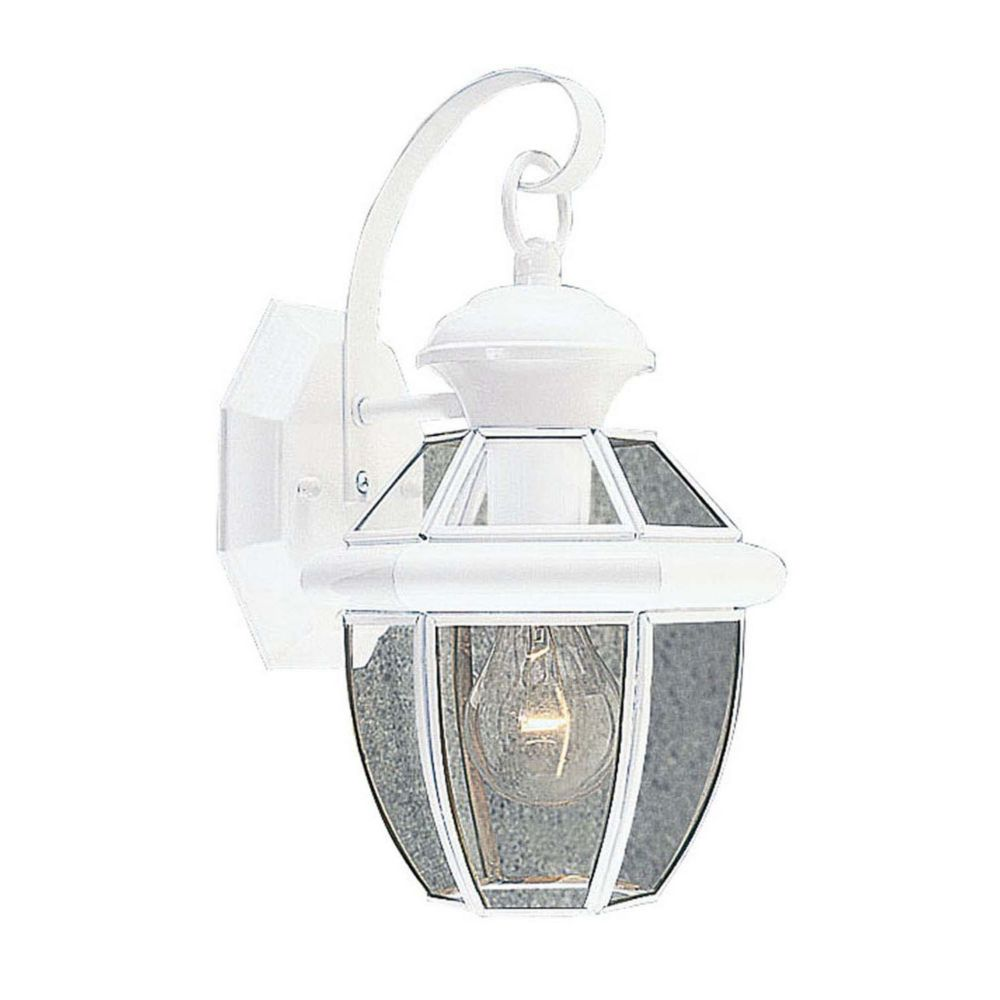 Providence 1-Light White Wall Lantern with Clear Beveled Glass
