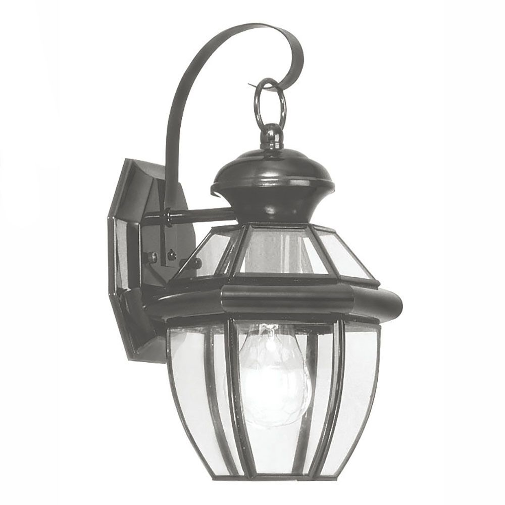 Providence 1-Light Black Wall Lantern with Clear Beveled Glass