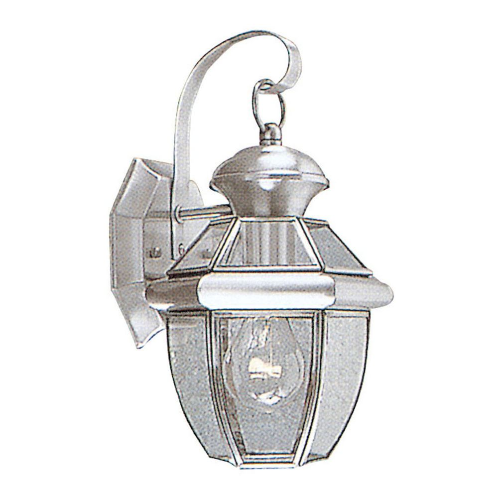 Providence 1-Light Brushed Nickel Wall Lantern with Clear Beveled Glass