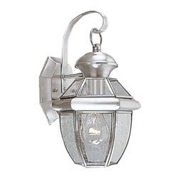 Illumine Providence 1-Light Brushed Nickel Wall Lantern with Clear Beveled Glass