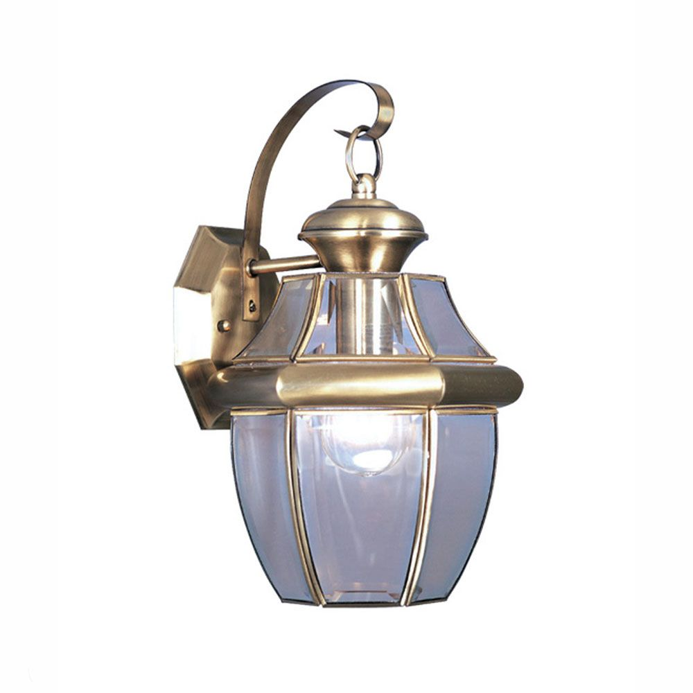 Illumine Providence 1 Light Antique Brass Incandescent Wall Lantern with Clear Beveled Glass