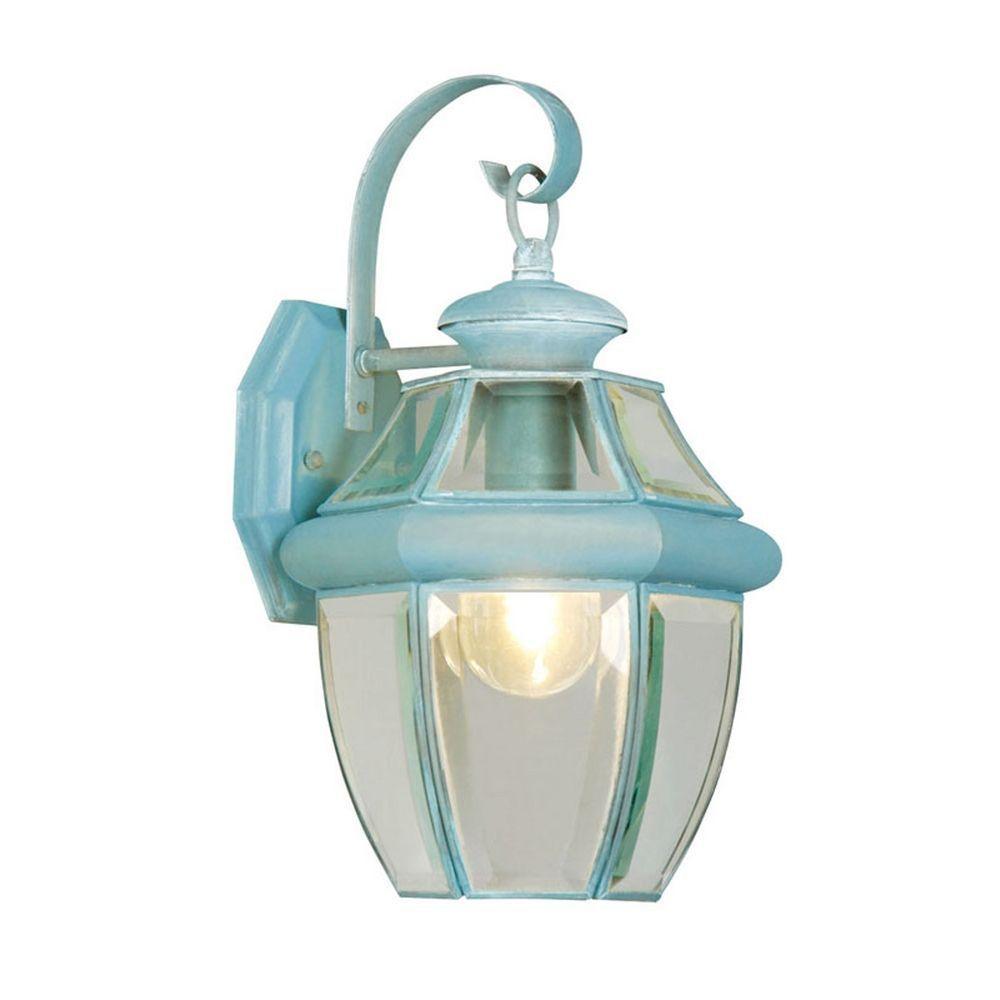 Providence 1 Light Verdigris Incandescent Wall Lantern with Clear Beveled Glass CLI-LTG2151-06 in Canada